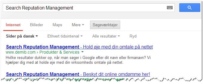 Search Reputation Management - Google søgning
