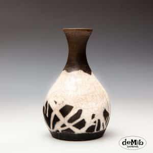 Raku vase i sort og hvid