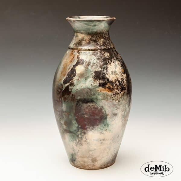 Høj Pitfire Vase med Flotte Farver