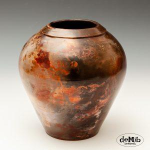 Buttet Pitfire Vase i Varme Farver