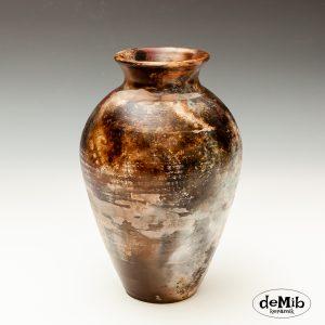 Smuk Pitfire Vase med Dybe Farver
